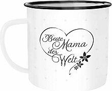 Moonworks® Emaille Tasse Becher Herz Beste Mama