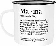 Moonworks Emaille Tasse Becher Mama Definition