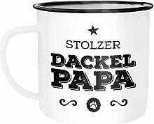 Moonworks Emaille Tasse Becher Stolzer Dackel Papa