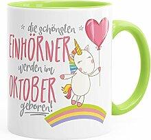 MoonWorks Geburtstags-Tasse die schönsten Einhörner Werden im Oktober Geboren Geschenk-Tasse Hellgrün Unisize