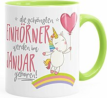 MoonWorks Geburtstags-Tasse die schönsten Einhörner Werden im Januar Geboren Geschenk-Tasse Innenfarbe Hellgrün Unisize