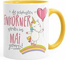 MoonWorks Geburtstags-Tasse die schönsten Einhörner Werden im Mai Geboren Geschenk-Tasse Gelb Unisize