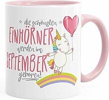 MoonWorks Geburtstags-Tasse die schönsten Einhörner Werden im September Geboren Geschenk-Tasse Rosa Unisize