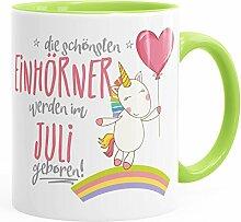 MoonWorks Geburtstags-Tasse die schönsten Einhörner Werden im Juli Geboren Geschenk-Tasse Hellgrün Unisize