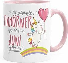 MoonWorks Geburtstags-Tasse die schönsten Einhörner Werden im Juni Geboren Geschenk-Tasse Rosa Unisize