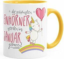 MoonWorks Geburtstags-Tasse die schönsten Einhörner Werden im Januar Geboren Geschenk-Tasse Innenfarbe Gelb Unisize