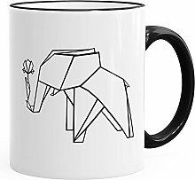 MoonWorks Geschenk-Tasse Origami Elefant mit Rose