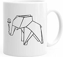 MoonWorks Kaffee-Tasse Origami Elefant mit Rose