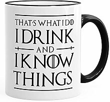 MoonWorks® Kaffee-Tasse Spruch I drink and i know