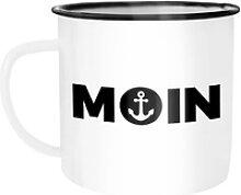 MoonWorks Tasse Emaille Tasse Becher Moin Anker