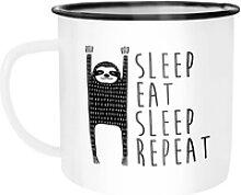 MoonWorks Tasse Emaille Tasse Becher Sleep eat