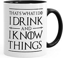 MoonWorks Tasse Kaffee-Tasse Spruch I drink and i