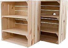moooble 2 Große Holzkisten mit 3 Fächern 61cm x