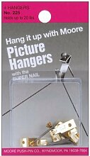 Moore Push Pin Picture Hangers with Super Nail,