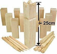 Moorland KUBB Wikinger-Spiel Knuut Schweden-Schach Outdoor Spiel für bis zu 12 Personen - massives Holz inkl Tasche