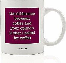 """Moosbeer-Tasse """"Yes Coffee No Opinion"""