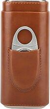Mootea Portable Leder Zigarre Fall Zedernholz