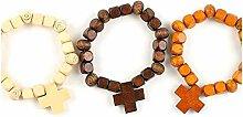 Mopec Armband, Holz, Kreuz 3 Farben Packung mit 6