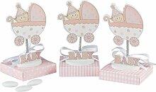 mopec wp930.02–PORTAFOTO Baby in Kinderwagen mit Feder in Pink mit Box Pink sortiert in 3verschiedenen Muster mit 5Marienbildnis, 24-er Pack