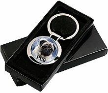 Mops Schlüsselanhänger in Geschenksverpackung.