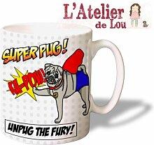 Mops Superheld keramisch Kaffeebecher - Originelle Geschenkidee - Spülmaschinefes