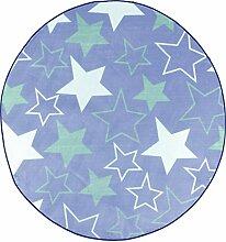 Mora Teppich, Dekoration, Polyester, Blau, 80x