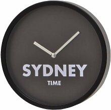 More Design-Kapital D20 Wanduhr, schwarz, rund mit Sydney