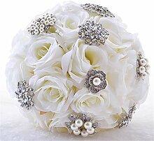 MOREJUN Hochzeit Blumenstrauss Weiß Rose Weiß K