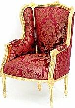 MOREKO Barock Design Stuhl Massiv-Holz Ohrensessel Antik-Stil Thron Sessel gold - ro