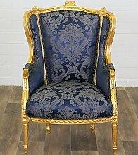 MOREKO Barock Ohrensessel Antik-Stil Stuhl Massiv-Holz Sessel gold - blau