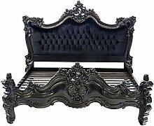 MOREKO Designer Bett Barock Antik-Stil Bett Massiv Mahagoni Holzbett 180 x 200 cm Kingsize schwarz