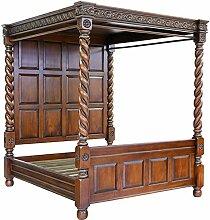 MOREKO Himmelbett Massiv-Holz Mahagoni Bett 160 x