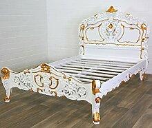 MOREKO Rokoko Bett Antik-Stil Holzbett Massiv Mahagoni 140 x 200 cm weiß - gold