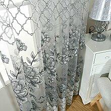 MORESAVE Modernes Blumen Tulle Vorhang Tür Fenster Gardinenschals mit Ösen, 100x250cm
