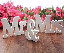 Moresave Mr & Mrs Holzbuchstaben Hochzeit Dekoration Geschenk 1 Set Weiß