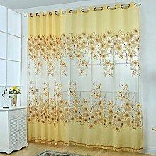 Moresave Voile Vorhänge Tür-Fenster Gardine Drapieren Panel Ösenschals mit Perlen Gelb, 250 x 95 cm