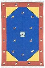 Morgenland Handgewebt Blau Teppich Minimal Muster