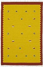 Morgenland Handgewebt Gelb Teppich Minimal Muster