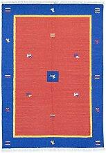 Morgenland Handgewebt Rot Teppich Minimal Muster