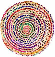 Morgenland Jute Sisal Teppich SISALO 90 x 90 cm Runder Teppich Natur Teppich Bunt Handgewebter Teppich Handwebteppich Einfarbig Kurzflor Flachgewebe Eingangsbereich Badezimmer Flur Indoor Outdoor Beidseitig verwendbar