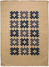 Morgenland Kelim Teppich ERANA 160 x 90 cm Blau Karo Kurzflor Handgewebt 100% Schurwolle Orientteppich Orientalisch Modern Klassisch Beidseitig verwendbar - In 4 versch. Farben, Viele Größen