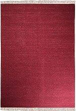 Morgenland Kelim Teppich LERENA 140 x 200 cm Einfarbig Dunkelrot Uni Teppich Kurzflor Handgewebt 100% Schurwolle Beidseitig verwendbar Flachgewebe Webteppich Kilim Kinderteppich