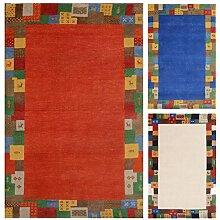 Morgenland Luxus Gabbeh Loribaft Teppich ELITE 350 x 250 cm Rot Orange Wohnzimmer Einfarbig Bunt Bordüre Orient Teppich 100% Handgeknüpfter Teppich Dick Weich Kuschelig Schurwolle Wollteppich Modern Klassisch - In Rot Blau Weiß, Viele Größen