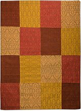 Morgenland Patchwork Teppich WEYS 340 x 240 cm Braun Gold Jacquard Vintage Bunt Kariert Felder Kasten 100% Viskose Antirutsch Handgearbeitet Wohnzimmer Flur Diele Kurzflor Flachgewebe Modern - In 9 versch. Farben, Viele Größen