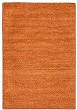 Morgenland Uni Kurzflor Teppich Orange Handgemacht