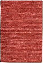 Morgenland Uni Kurzflor Teppich Rot Handgemacht