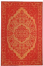 Morgenland Vintage Teppich MILANO 200 x 140 cm Orange Einfarbig Designer Moderner Teppich Klassisch Jacquard Kurzflor Shabby Chic Used Look Medaillon Orient Teppich Handgearbeitet 100% Schurwolle Wohnzimmer Flur Kinderteppich - In 7 versch. Farben, Viele Größen