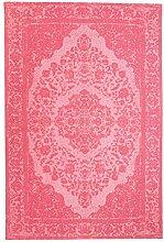 Morgenland Vintage Teppich MILANO 290 x 200 cm Rosa Einfarbig Designer Moderner Teppich Klassisch Jacquard Kurzflor Shabby Chic Used Look Medaillon Orient Teppich Handgearbeitet 100% Schurwolle Wohnzimmer Flur Kinderteppich - In 7 versch. Farben, Viele Größen
