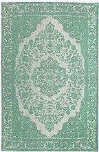 Morgenland Vintage Teppich MILANO 300 x 80 cm Läufer Grün Einfarbig Designer Moderner Teppich Klassisch Jacquard Kurzflor Shabby Chic Used Look Medaillon Orient Teppich Handgearbeitet 100% Schurwolle Wohnzimmer Flur Kinderteppich - In 7 versch. Farben, Viele Größen