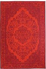 Morgenland Vintage Teppich MILANO 300 x 80 cm Läufer Rot Einfarbig Designer Moderner Teppich Klassisch Jacquard Kurzflor Shabby Chic Used Look Medaillon Orient Teppich Handgearbeitet 100% Schurwolle Wohnzimmer Flur Kinderteppich - In 7 versch. Farben, Viele Größen